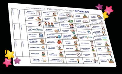 לוח ההצלחה הצעה ליעדים ומשימות